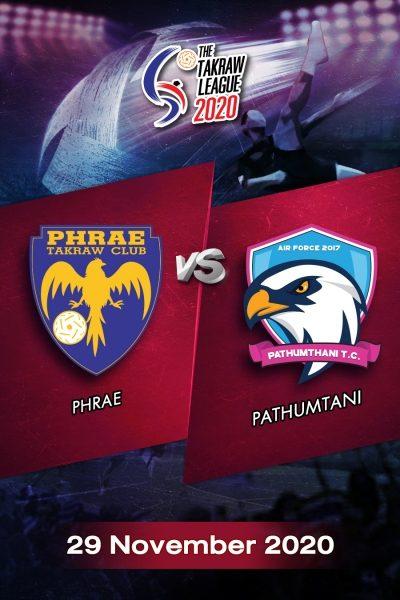 The Takraw League 2020  Phrae VS Pathumtani การแข่งขันตะกร้อไทยแลนด์ลีก 2563 แพร่ VS ปทุมธานี (29 พ.ย.63)